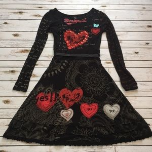 ❣️Desigual❣️Black Red Heart Print Dress Size S